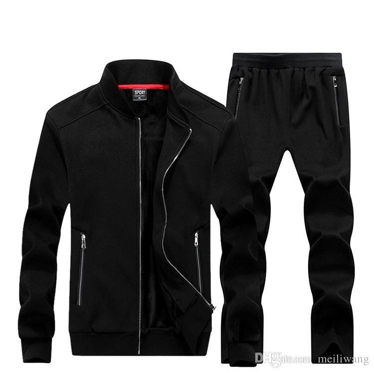 WholesaleNew Autumn Winter Men Sporting Suit Hoodies Jacket+Pant Sweatsuit Two Piece Set Tracksuit Sportswear Thick For Men Clothing