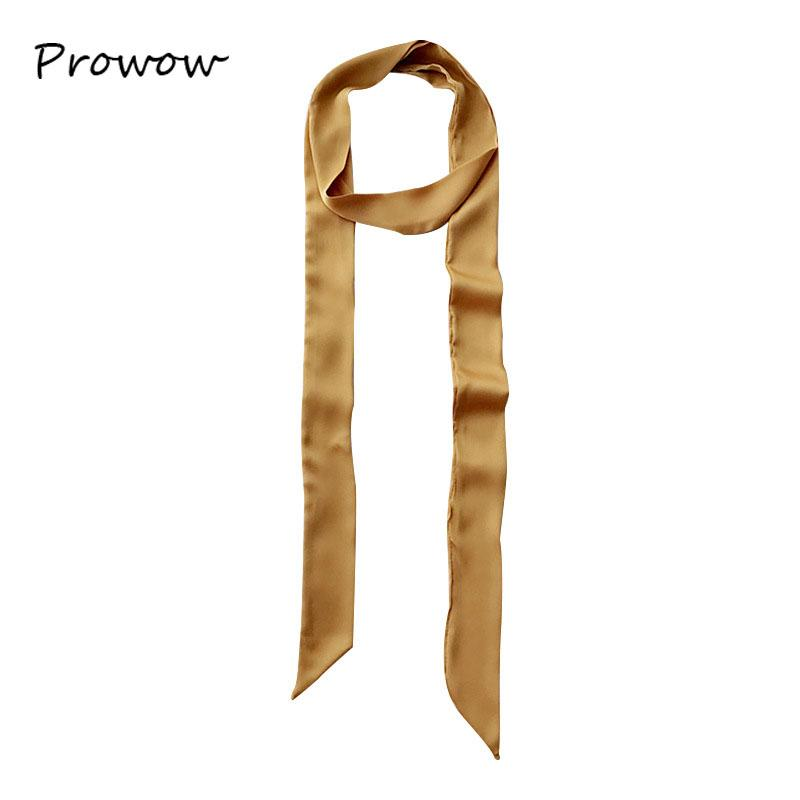 195*4CM Women Pure color Scarf Extra Long Narrow Silk Ribbon Scarfs Necktie Ladies Thin Tie Neck Scarves Wrist Strap Belt SJ011