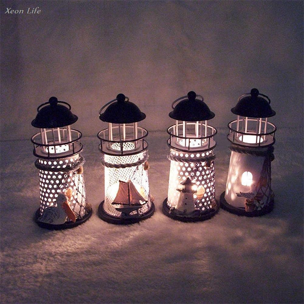 ISHOWTIENDA 14*6.5*6.5CM Lighthouse Iron Candle Holder Nautical Beach Anchor Decoration Wedding Christmas Lighting Decor