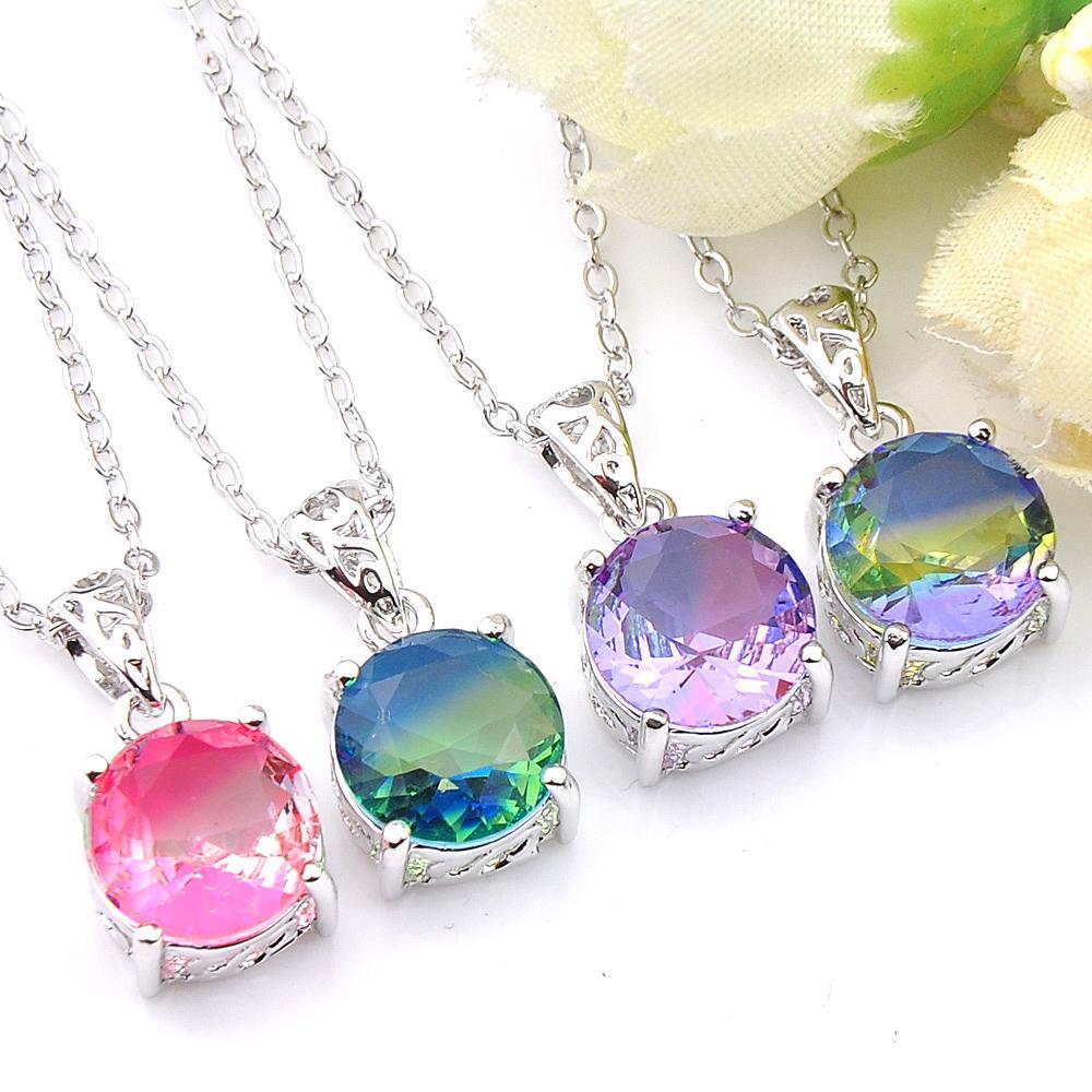 Fashion Jewelry 10 Pcs/Lot Luckyshine Round Bi-Color Tourmaline Gemstone 925 Silver Necklaces Pendant Women Party Weddings Jewelry Gift