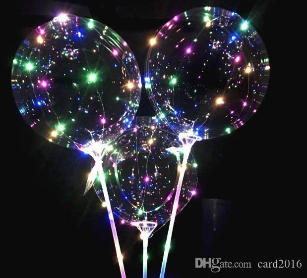 Aydınlık led balonlar ile sopa ışıklandırılmış balon çocuklar oyuncak doğum günü partisi düğün süslemeleri