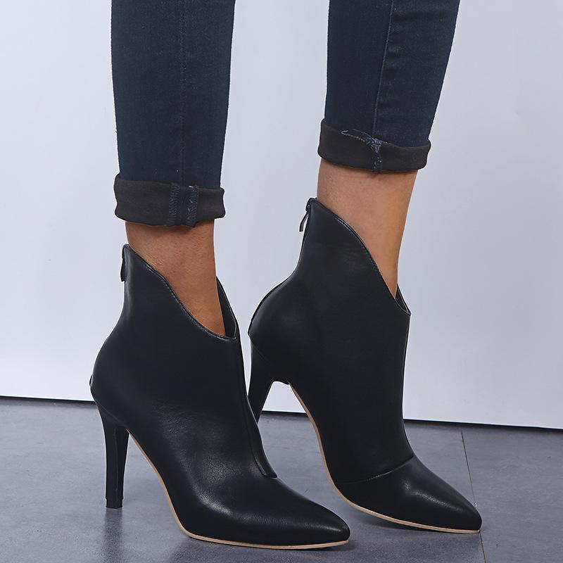 botas de las mujeres señalaron botines serpentina más alta moda botas de tacón de terciopelo grueso con el calcetín de las mujeres