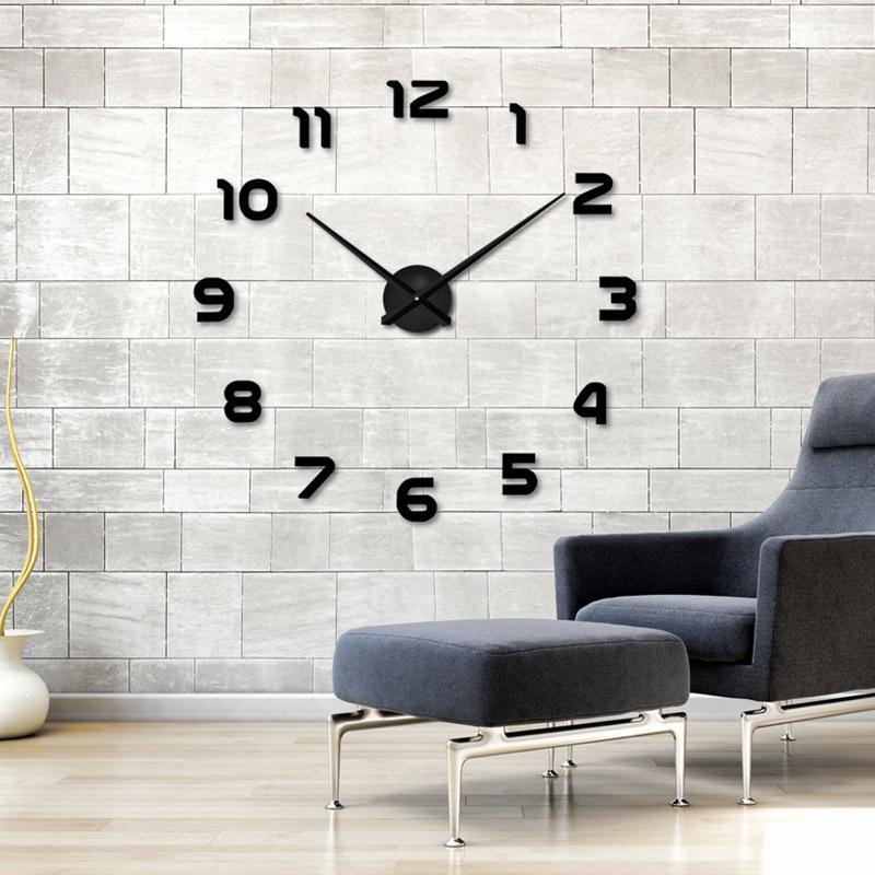 2019 Yeni Büyük Duvar Saati Kişiselleştirilmiş Büyük Duvar Saati 3d Diy Saat Akrilik Ayna Duvar Sticker Kuvars Modern Ev Dekorasyon T200104