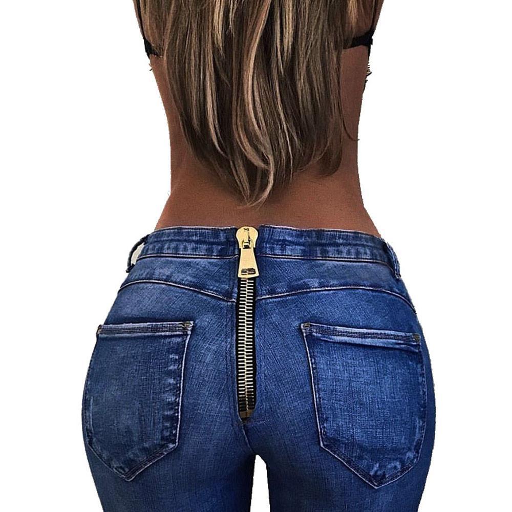 Hxroolrp Moda cintura Jeans alta Mulheres Pants Stretch Pour Dames Magro Calças Ladies Calças Lápis Voltar Zipper Jeans de mujer fz0206