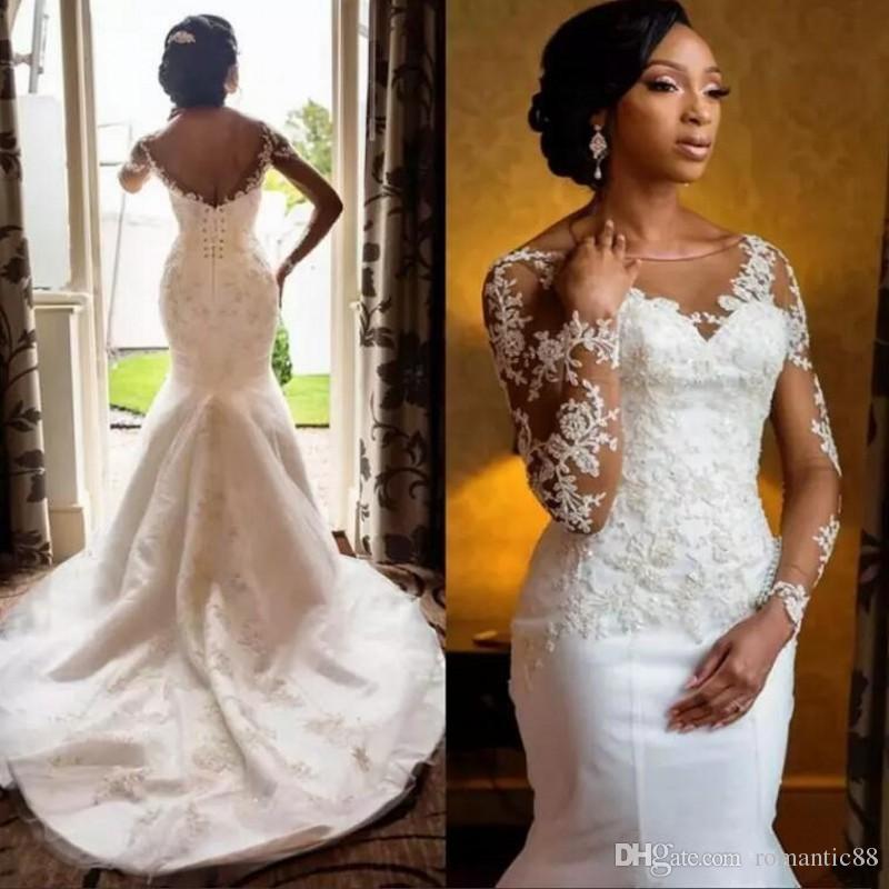 2019 아프리카 아랍 인어 웨딩 드레스 깎아 지른 목 환상 긴 소매 흑인 여자의 신부 가운 레이스는 웨딩 드레스를 Appliqued