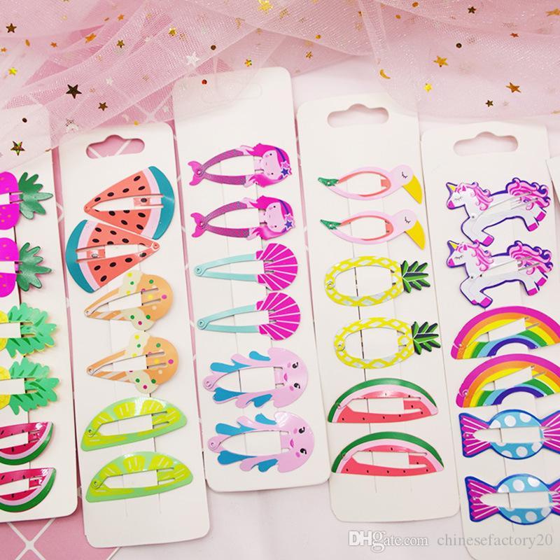 17 colores de pelo de los niños del clip lindo dibujos animados frutas unicornio forma animal de los bebés de la hornada de la pintura de la horquilla de los Barrettes del pelo de los niños Accesorio Headwear