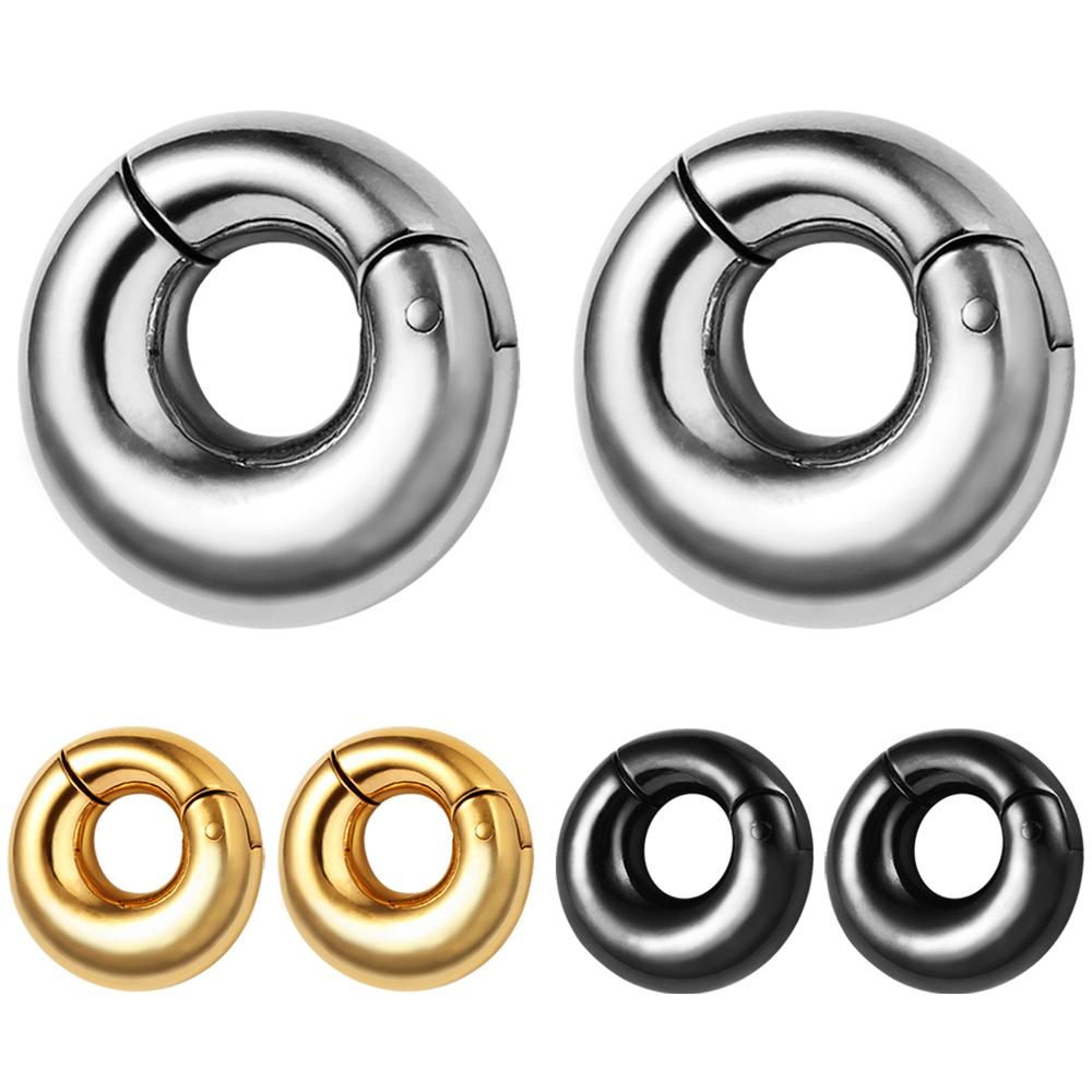 Ear Aço inoxidável 316L Plugs Tunnels 8 milímetros Plain Pesos orelha piercing corpo jóias ouvido Gauges Ouro Preto Prata