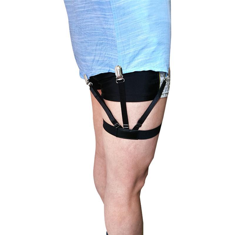 셔츠 멜빵 가터 홀더 2 개 섹시한 탄성 남성 셔츠 스테이 가터 비즈니스 남성 셔츠 신사 다리 멜빵 교정기