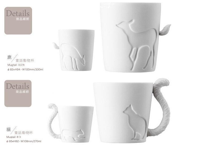 Ceramic mug cup white cat/rabbit/squirrel/fawn animal milk cup Lovers Mug Cute Birthday Gift,Christmas Gift