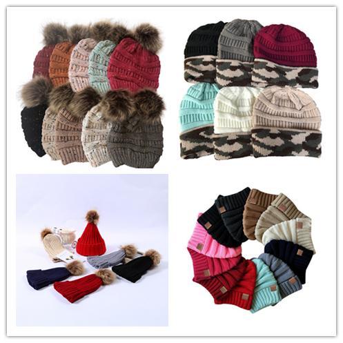 Bayan Çocuk Moda Örme Cap Sonbahar Kış Sıcak Hat Skullies Marka Logosu Ağır Saç Topu Katı Renk