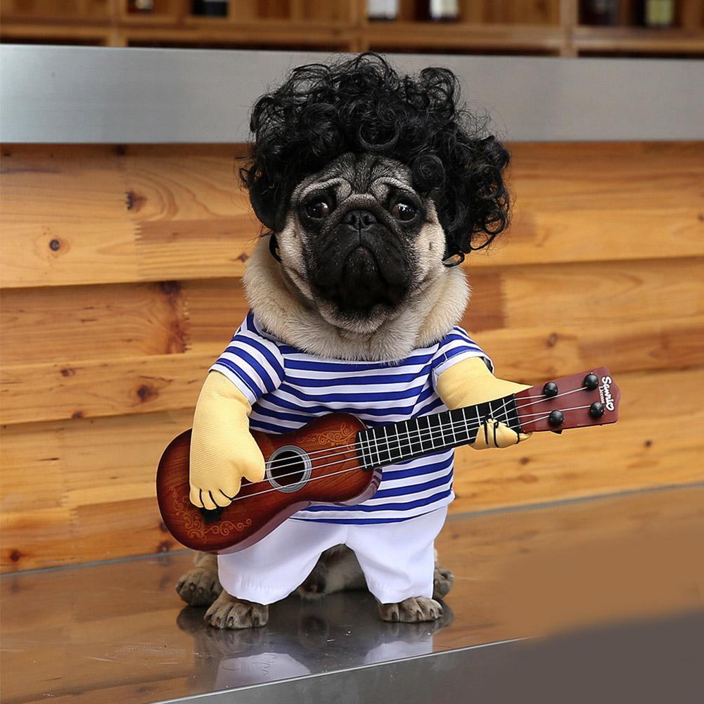 Funny Dog Costume Play The Guitar Dog Cat Cosplay Halloween