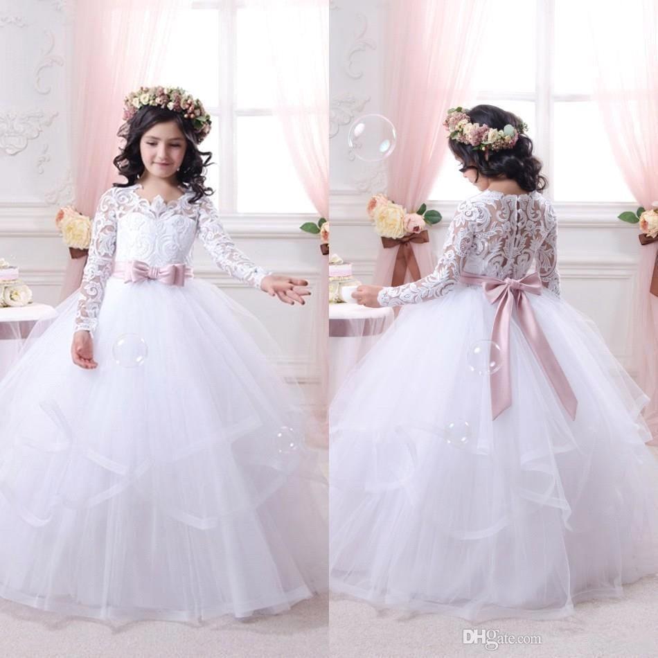 사랑스러운 화이트 공주 꽃 소녀의 드레스 레이스 긴 소매 깎아 지른 승무원 목 버튼 공식적인 아기 소녀 귀여운 아이들의 결혼식을위한 공식적인 착용
