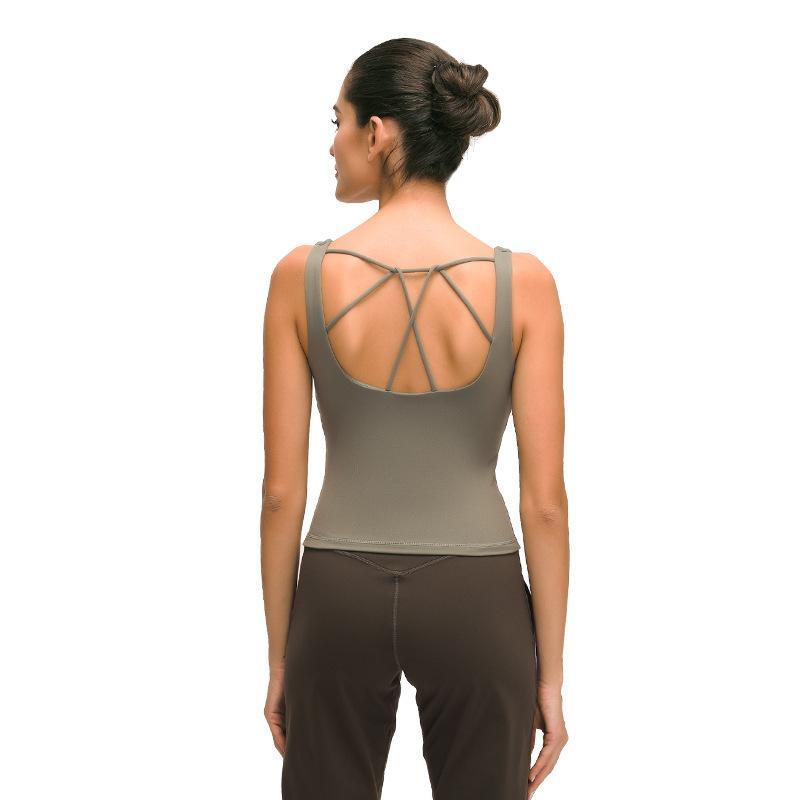 Camisa sin mangas de la yoga Sexy Back Cross Sports Chaleco de Mujeres de la gimnasia transpirable de secado rápido Fitness Sport Tank Top Ropa de deporte entrenamiento T200622