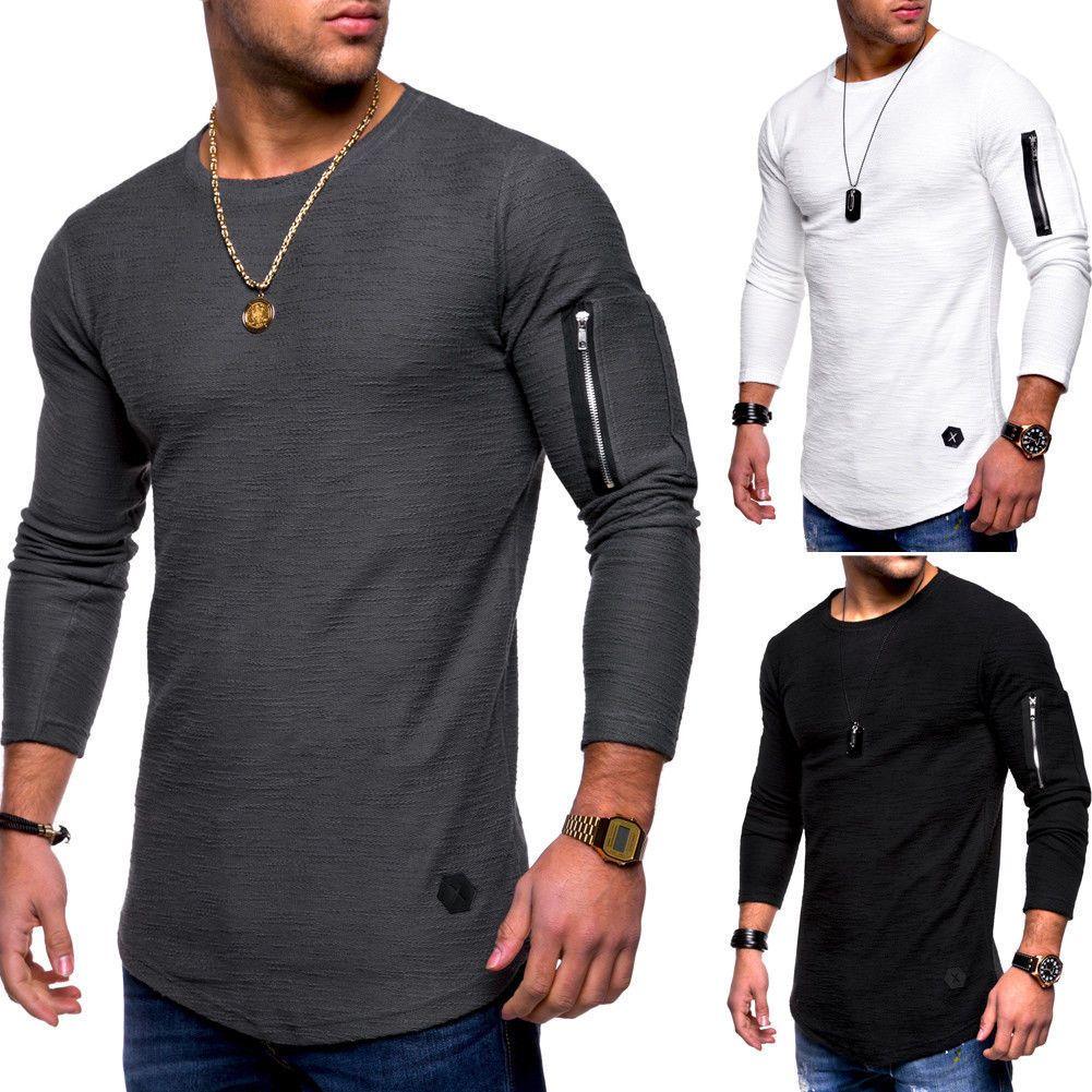 Mens Streetwear Solide Farbe T Shirts Arm Reißverschluss Design Pullover Langarm Tshirts Hip Hop Casual Crew Neck Tops