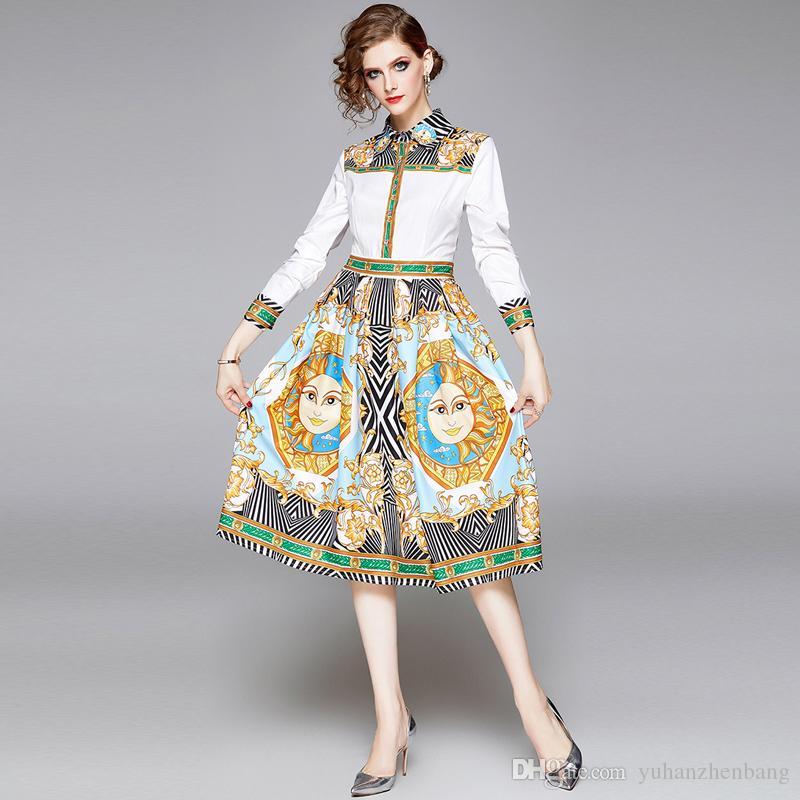 2020 Кнопка качества рубашки платья способа женщин с длинным рукавом нагрудные шеи Пром дамы дизайнер платья Luxury Runway офиса Печатные платья