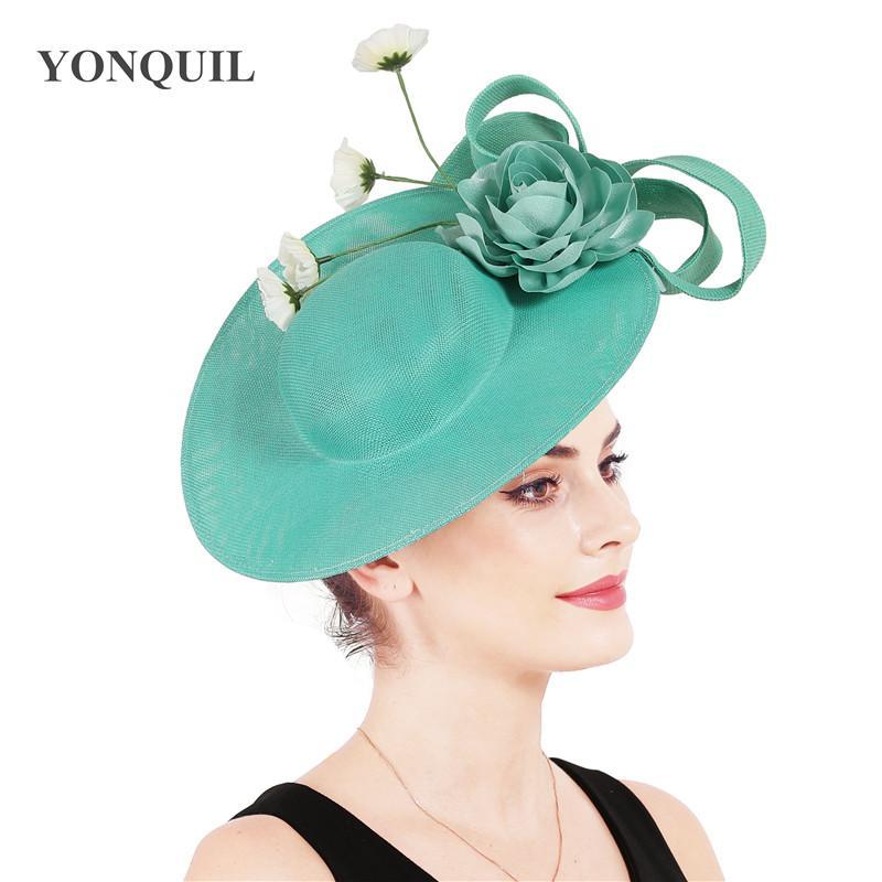 Emrald cappelli partito Derby Green donne eleganti tappi fascinators occasione bello chapeau con gentile signora decorazioni floreali loops copricapo