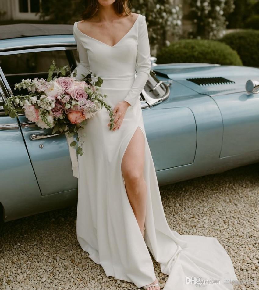 Summer Beach Wedding Dresses Long Sleeve V neck Side Slit Wedding Gowns for bride Custom Made Vestido De Novia 2019