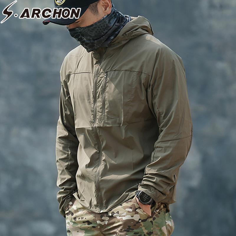 S. ARCHON taktik Cilt ceket erkekler hızlı kuru nefes su geçirmez Rüzgarlık ceket Sunproof taktik Ordu erkekler