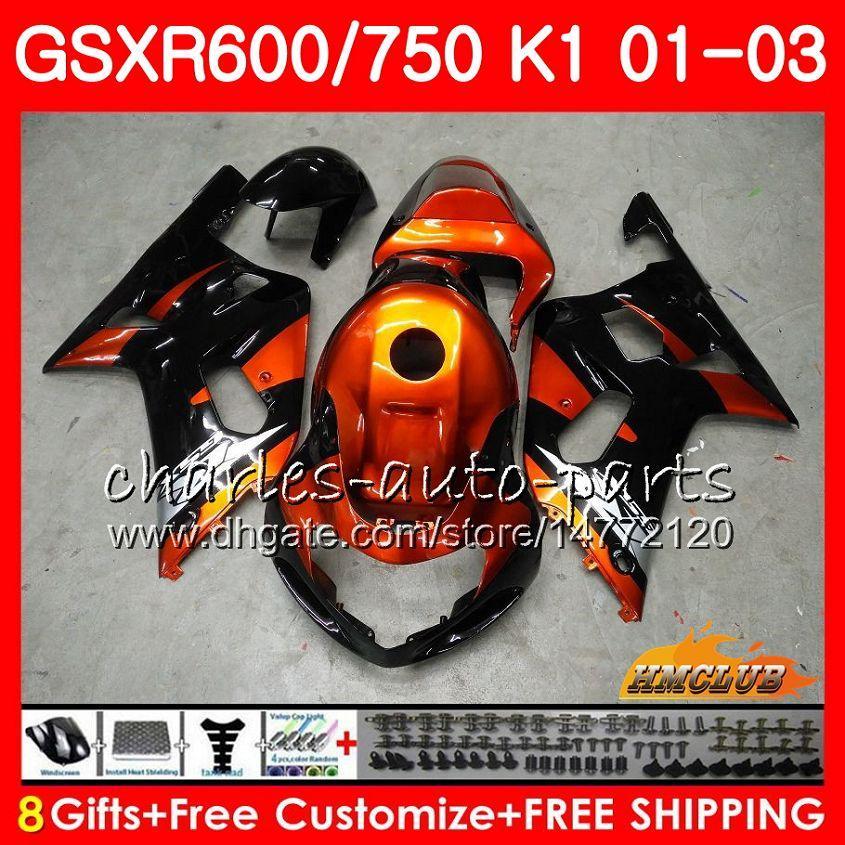 8GIFTS Body Orange Black Hot Suzuki GSX-R750 GSXR 600 750 GSXR600 01 02 03 4HC.9 GSXR-600 K1 GSX R750 GSXR750 2001 2002 2003 Zestaw do błonnika