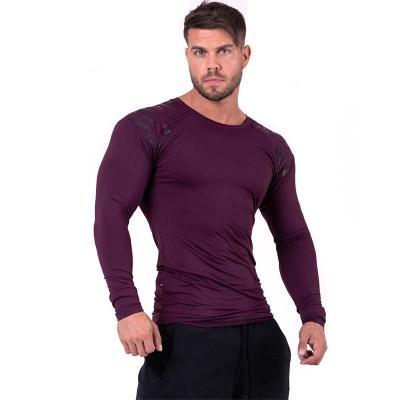 Yoga diseñadores de camisetas hombres de los deportes de gimnasia al aire libre Slim Fit muscular de los hombres de manga larga de cuello redondo de la camiseta transpirable apretado caliente de la venta