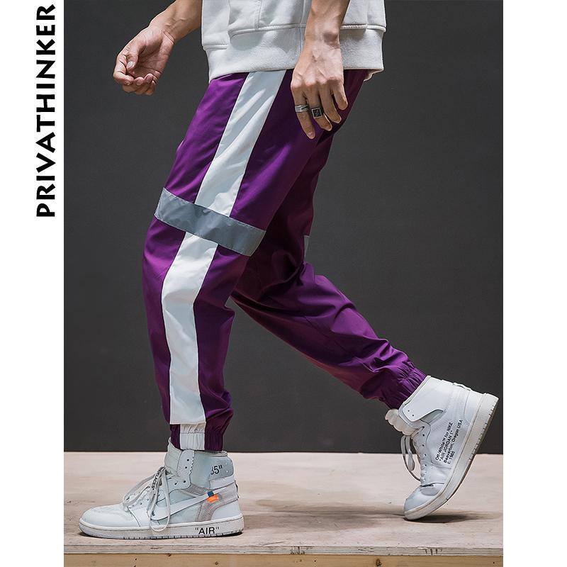 Privathinker Side Stripe Sarouel Hommes 2018 Hommes Streetwear Pantalon de Jogging Noir Réfléchissant Mâle Korean Fashions Casual Joggers Y190509