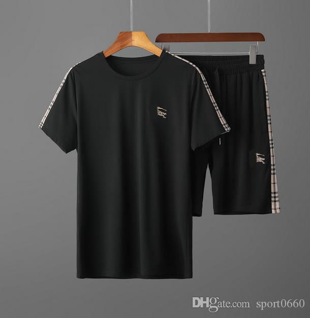 2020 chándal corto delgado para hombre del cuello de equipo diseñador de la camiseta de dos piezas de lujo situado suéter para hombre del chándal corto Diseñador chándales de tamaño asiático