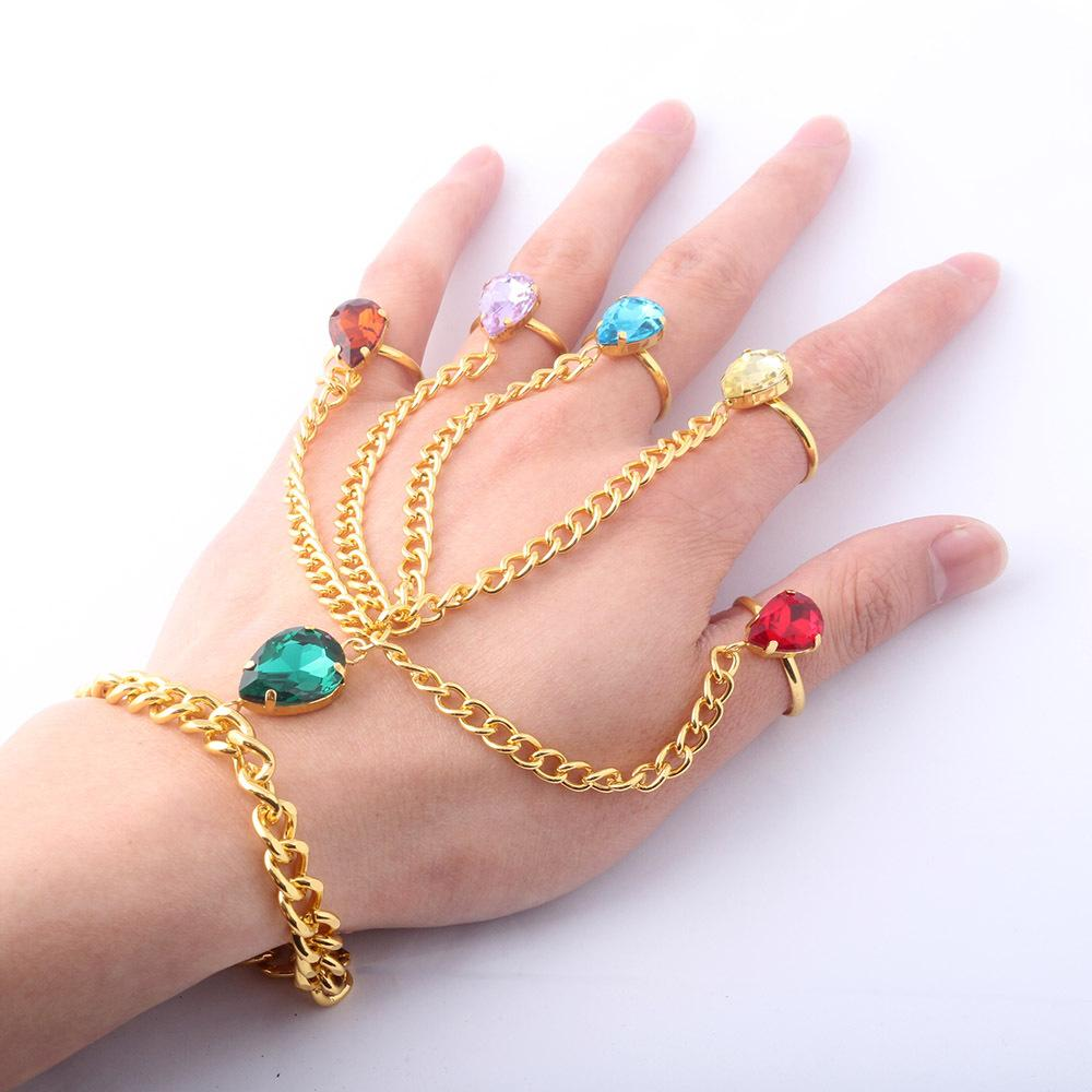Beach Jewelry Fashion Red Blue Green Diamonds Finger Ring Bracelet Gold Chain Conjoined Bracelet Adjustable Party Stage Dancer Bangle