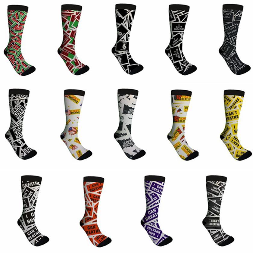 Non riesco a respirare calzini neri Abita Matter George Floyd adulto unisex casuale calzini di pallacanestro di stampa della lettera 14 Stile HHA1359