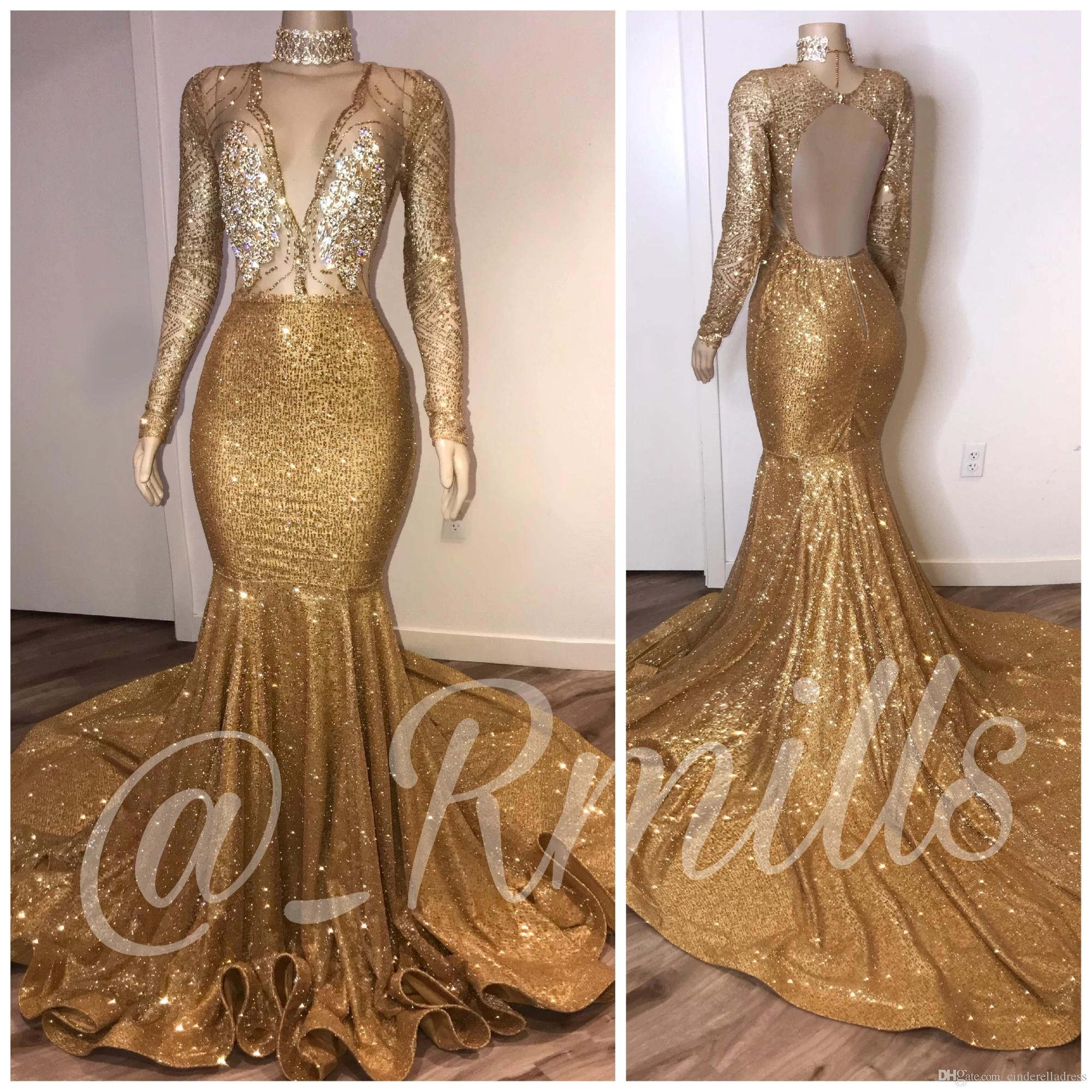 2020 Myriam Fares High Neck Sexy Gold Prom Dresses Deep V Neck Sequined Long Sleeve Evening Gowns