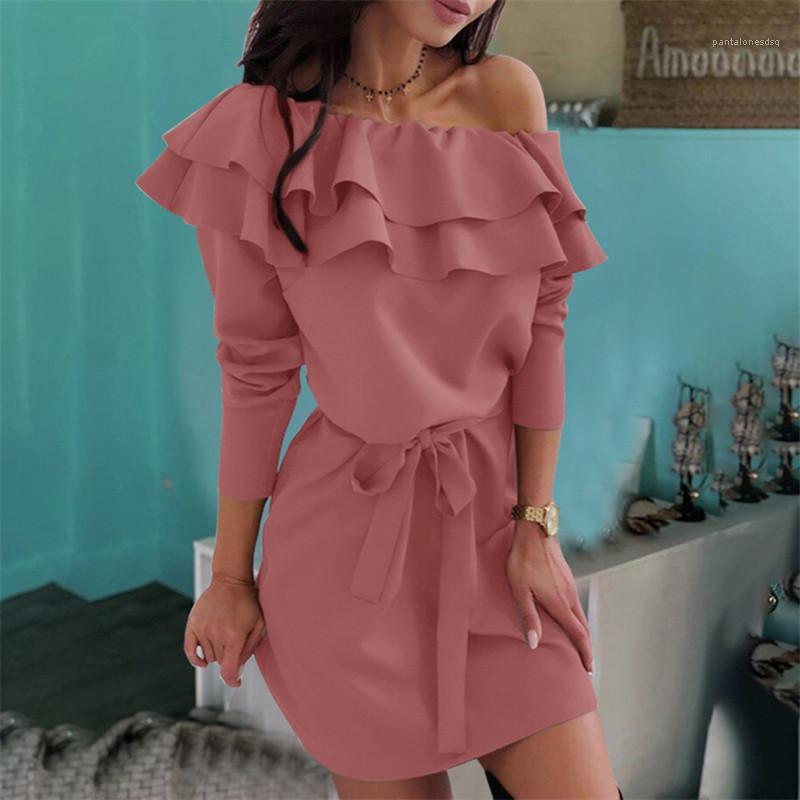 Sokak Stili Bayan Giyim İlkbahar Sonbahar Günlük Elbiseler Seksi Katı Renk Uzun kollu Ruffled Sashes Elbiseler