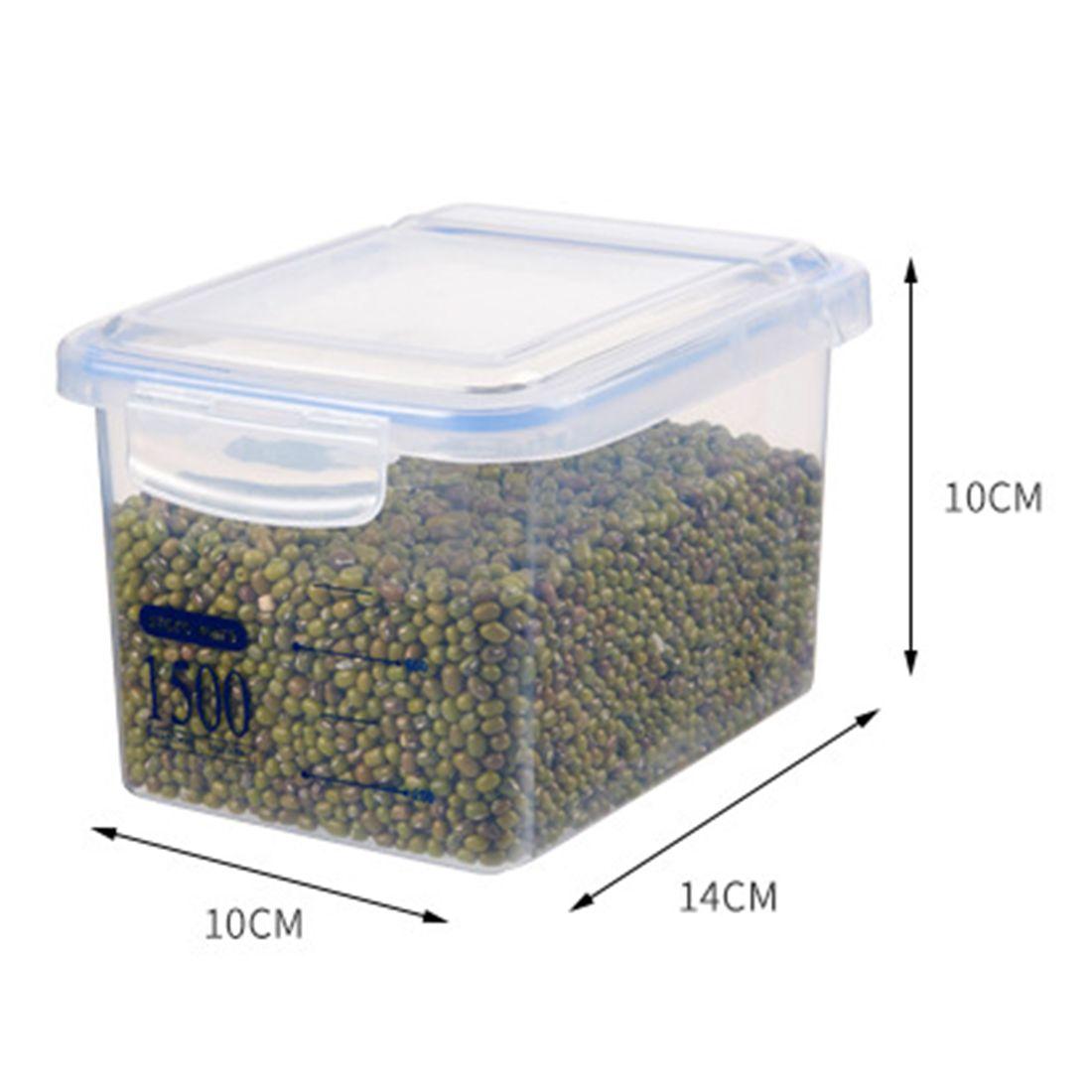 Drêches Container 3pcs / Equerre alimentaire Boîte de rangement étanche réservoir de cuisine de fruits secs Réservoirs Sealed - Bleu + Transparent