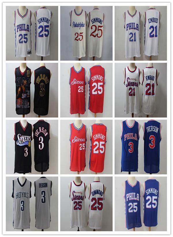 NCAA MenPhiladelphia76ers 21 JoelEmbiid 25 Simmons 3 Iverson Swingman Jersey Edition city basketball jerseys sports 02