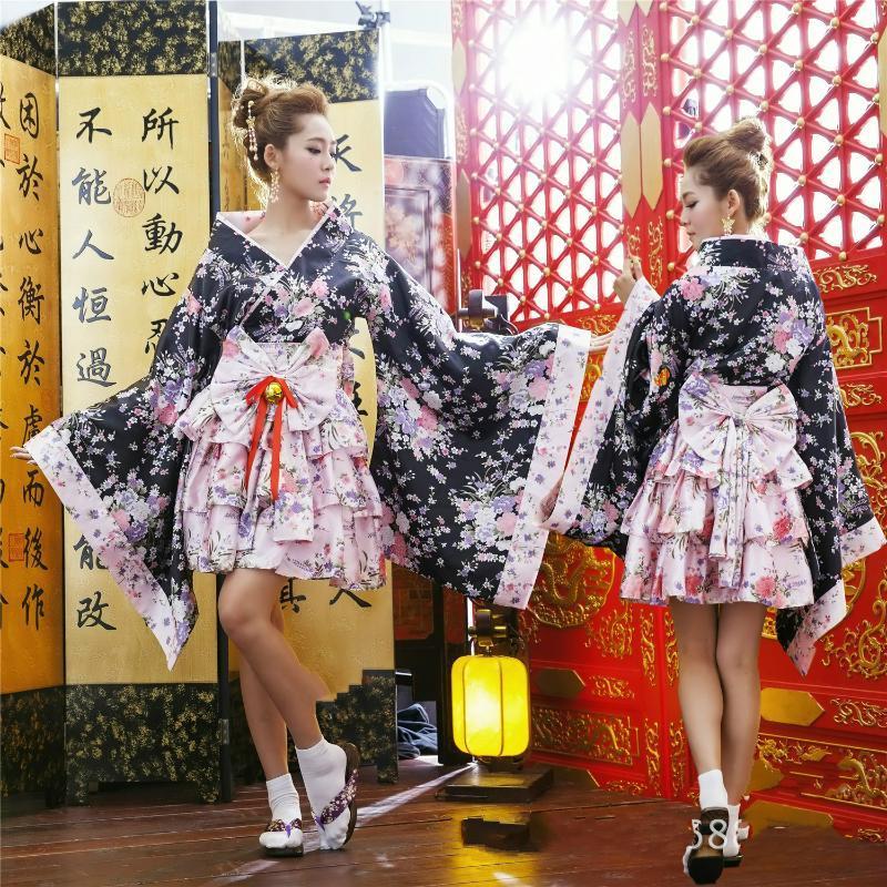 Japanische Kimono Vintage Original Tradition Silk Yukata Kleid mit Obi Sexy Kostüme
