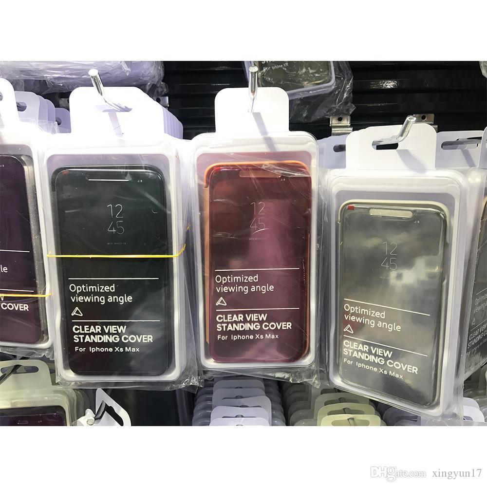 Casos filp cobertura para Samsung NOTA 8 NOTA 9 S8 S9 Além disso Espelho visão clara flip Electroplated caso para S10 S10 S10E PLUS Com Kickstand nenhum logotipo