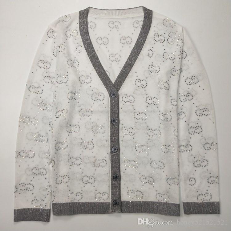 v-neck nuove donne di modo 'a maniche lunghe sottile shinny maglia logo lettera strass patchwork bling cappotto di lusso maglione cardigan