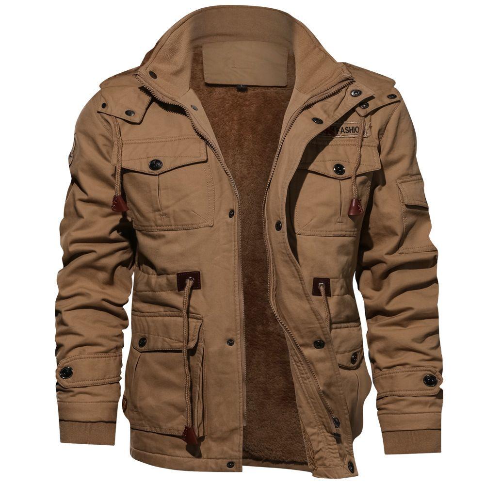 Moda Hombres chaqueta militar más el tamaño Escudo de manga larga nuevo estilo de invierno 4XL rompevientos soporte del collar adelgazan la capa gótica Negro Hombres Casual