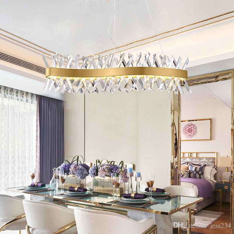2020 Modern K9 Crystal Chandelier Gold Chandelier Dining Room Rectangle Led Lamp Hanging Lamp Light Metal Drop For Living Room Fedex
