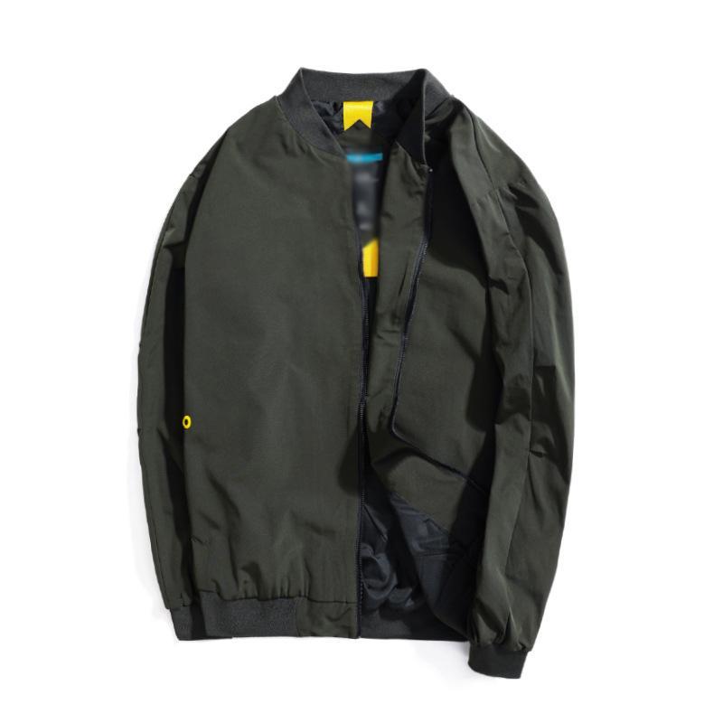 Fashion sping und Herbst Größe Männer neuer beiläufige Jacke Stehkragen Volltonfarbe wilde Jacke loser Baseball Uniform Mantel