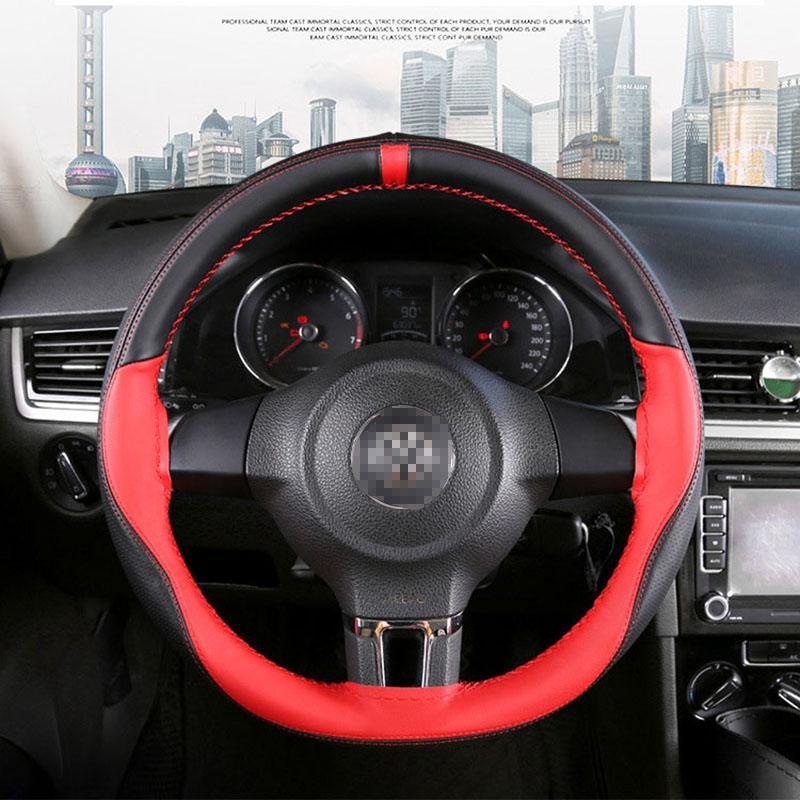 Нескользящая кожаная крышка рулевого колеса автомобиля 15 дюймов / 38 см тканый руль автомобиля с рукоделием для большинства аксессуаров