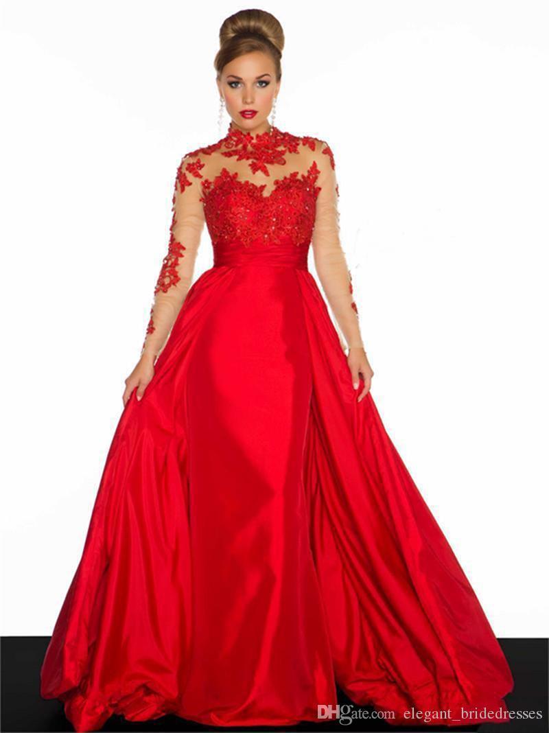 Oco A Linha Prom Dress Satin Applique Lace Satin Red New alta Collar vestidos de noiva Custom Made Vintage ver através de manga comprida
