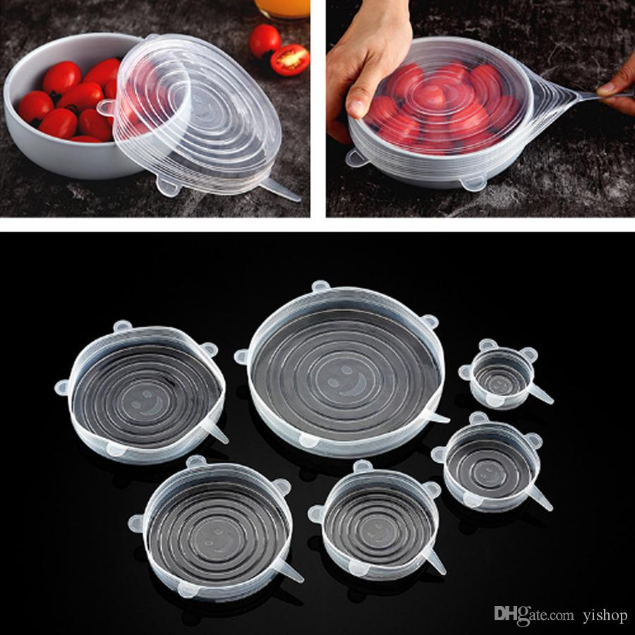 High Quality 6PCS/SET Silicone Stretch Lids Suction Pot Reusable Fresh Keeping Wrap Seal Lid Pan Cover Kitchen Tools Accessories