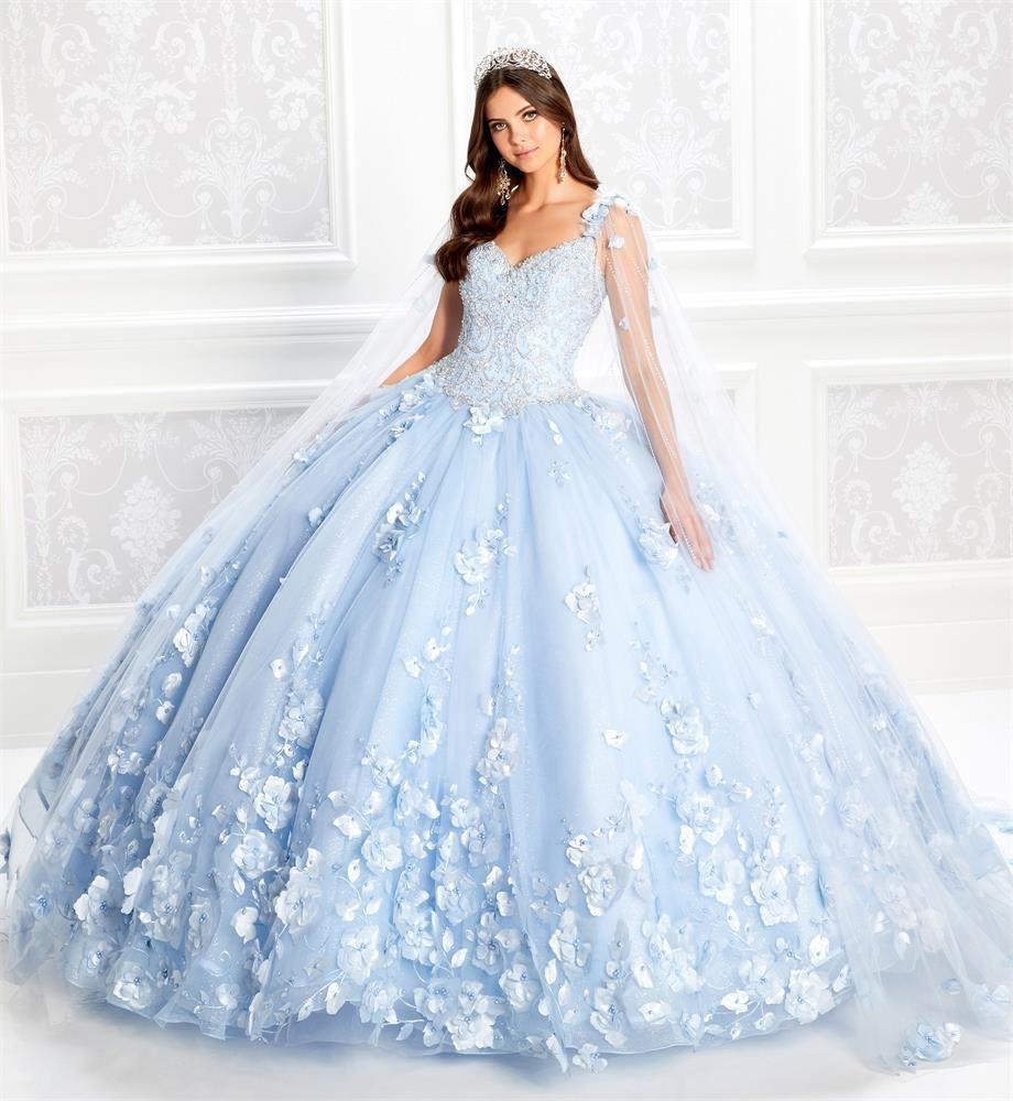 Light Blue robe de bal Quinceanera avec Wrap Appliqued dentelle douce 16 personnalisé robe Tulle balayage train de luxe Masquerade Robes