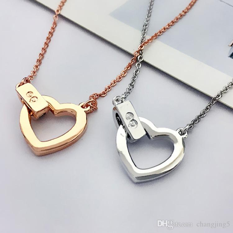 Collar de cadena de clavícula corazón de diamante de las mujeres de oro rosa collar de la manera del amor de novia joyería regalo