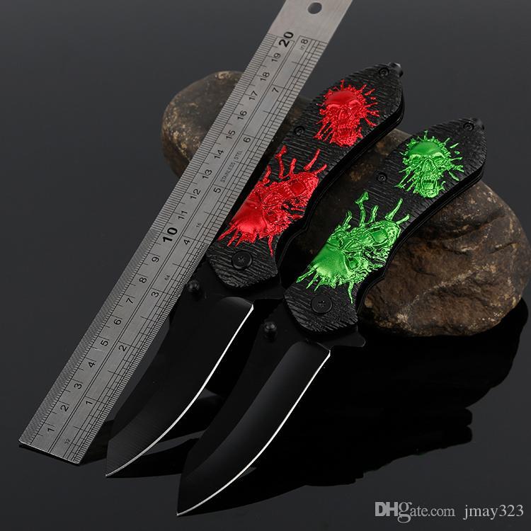 Relief Schädel Taktische Ausbildung 3Cr13 im Freien kampierende Überlebens-Messer Aluminum Handle Folding Taschenmesser Multi-Tools