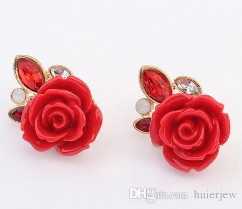 Orecchini per Rose Orecchini anello Donne Moda Splendidamente gioielli New coreano viti prigioniere Confezione da sposa all'ingrosso Vintage