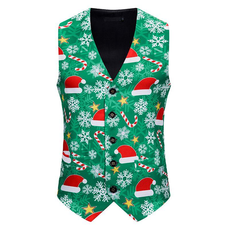 Komik Şeker Kamışı Baskılı Erkekler Tek Breasted Noel Partisi Erkekler Noel Suit Vest Artı Boyutu Çirkin Noel Yelek
