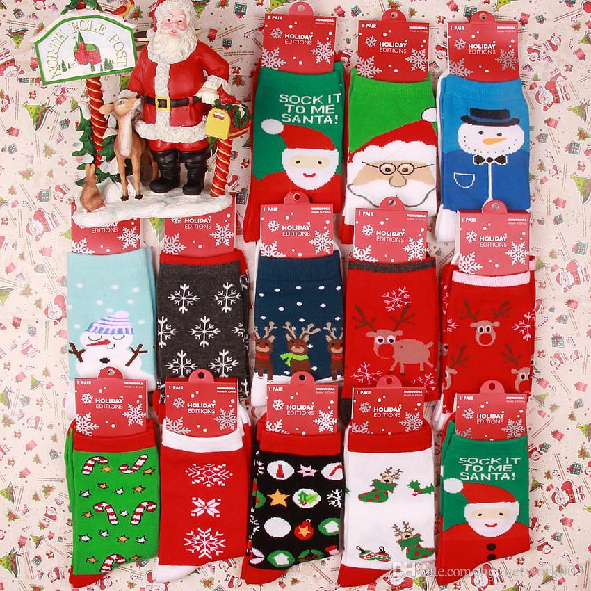 Winter-Frauen-Socken-Rote Weihnachtssocke nette Karikatur-Elch-Rotwild-Socken Baumwollwarme Baby Junge weiche Socken-A03
