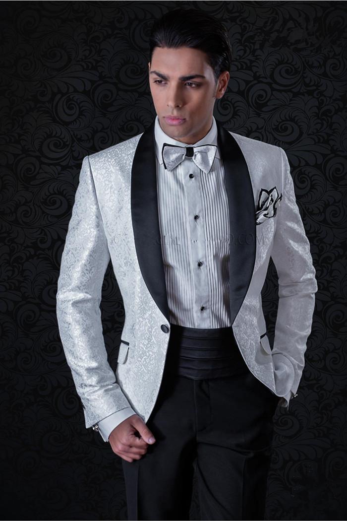 Nouveau Groomsmen Shawl Lapel One Button (Veste + Pantalon + cravate) smokings marié Groomsmen meilleur homme Costume Hommes Costumes de mariage Epoux 480