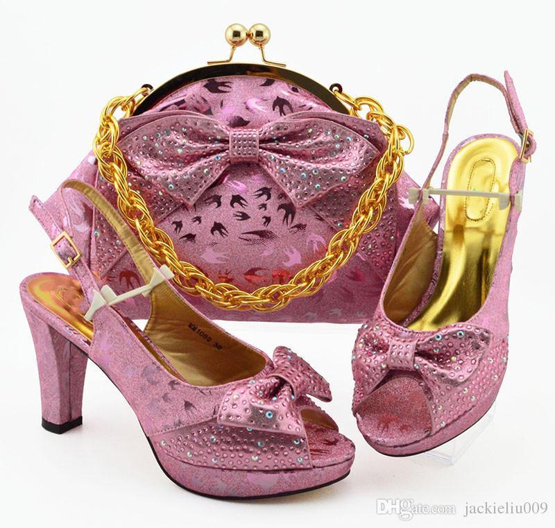 Nice looking mulheres rosa vestir sapatos com strass e estilo borboleta nó bombas africanos corresponder ao conjunto de bolsa MM1089, 10CM calcanhar
