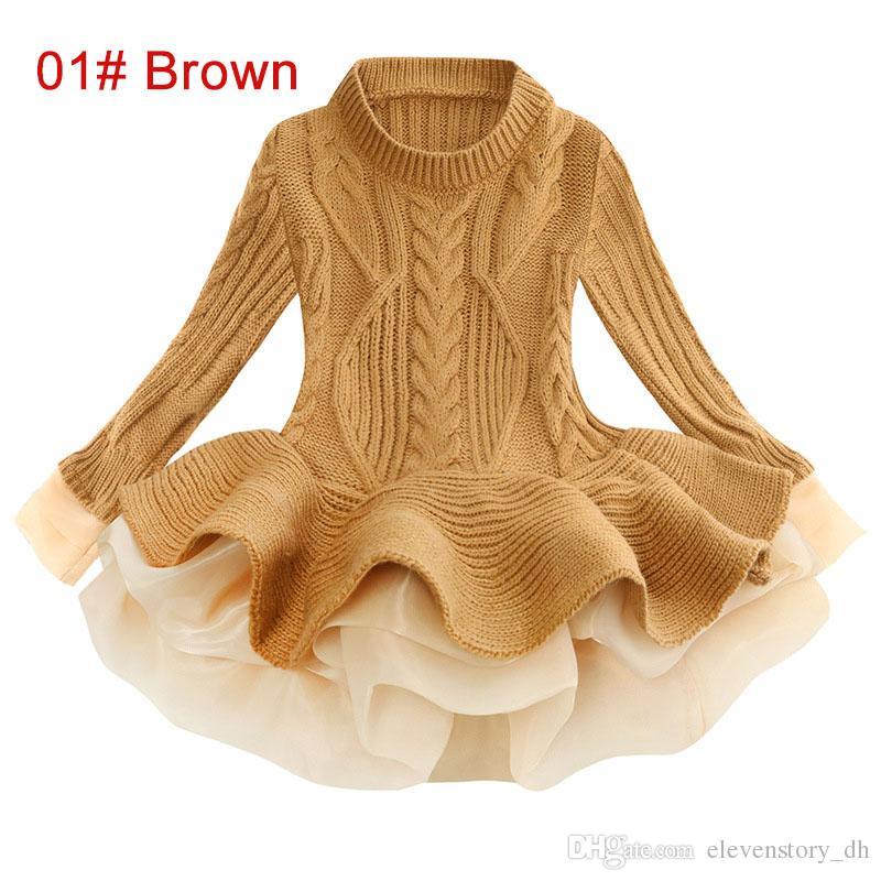 3 a 7 años de muchachas vestidos de suéter, ropa de moda del tutú niños de primavera / otoño / invierno, niños bebé Boutique de la ropa, 8 colores, R1AA806DS-29